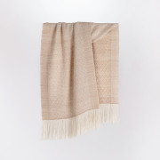 Handwoven Pinecone Wide Scarf - Natural Fawn and White Alpaca - 0