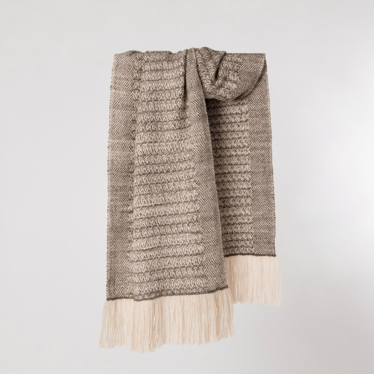 Handwoven Sycamore Wide Scarf - Striped Natural Silver Brown and Cream Alpaca - 0