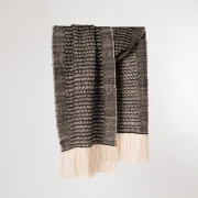 Handwoven Sycamore Wide Scarf - Natural Black and Cream Alpaca - 0