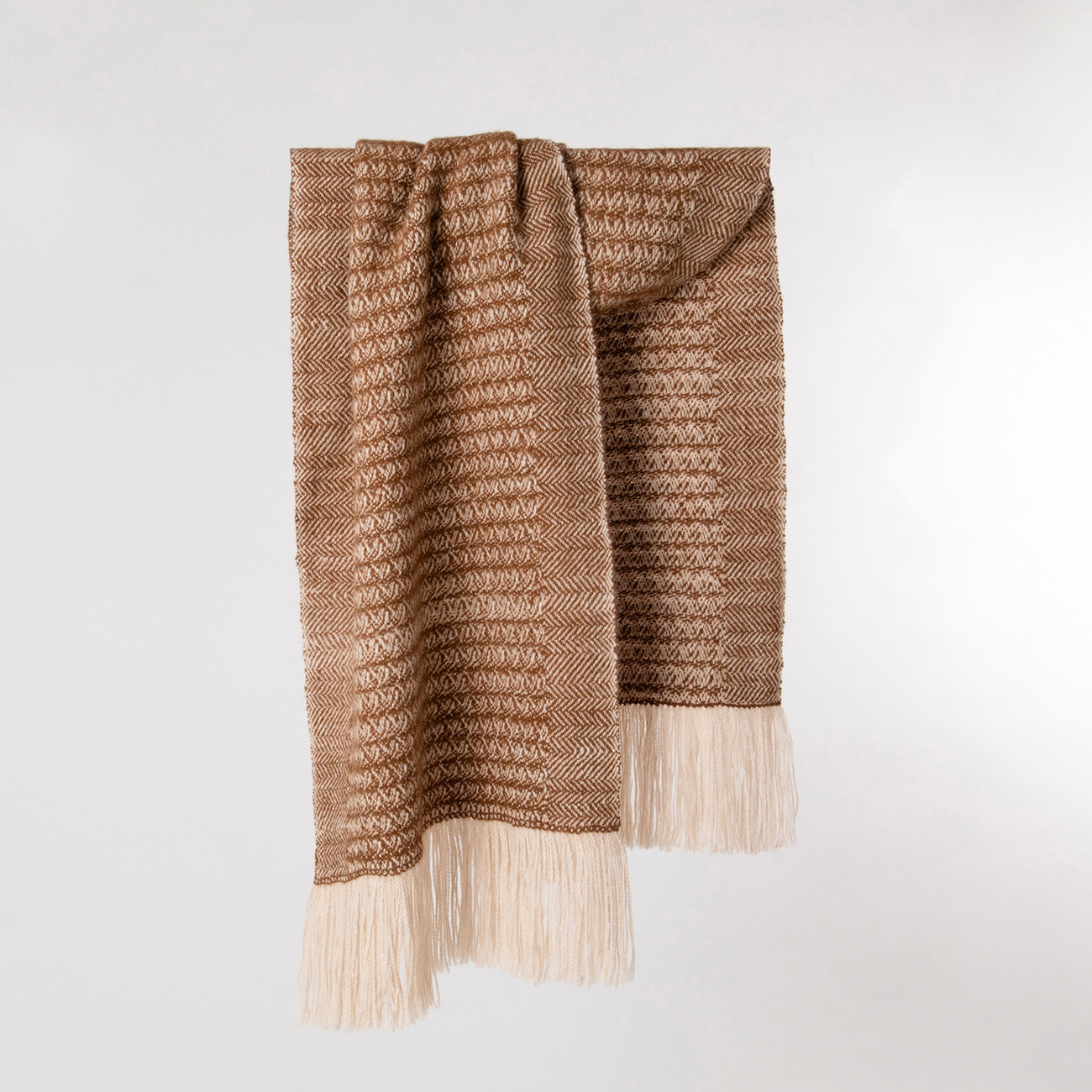 Handwoven Sycamore Wide Scarf - Natural Caramel and Cream Alpaca - 0