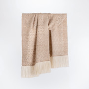 Handwoven Rose and Alpaca Feather Wide Scarf - Natural Fawn and Cream Alpaca and Rose Fibre - 0
