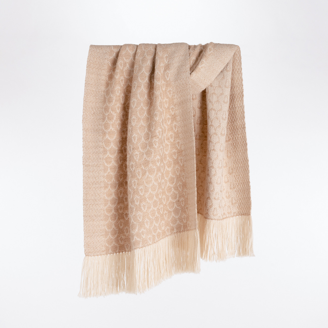 Handwoven Acorn Shawl - Natural Fawn and Cream Alpaca - 0