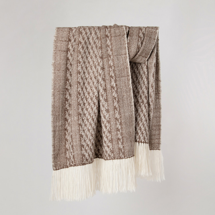 Handwoven Staffa Shawl - Striped Natural Silver Brown and Cream Alpaca - 0