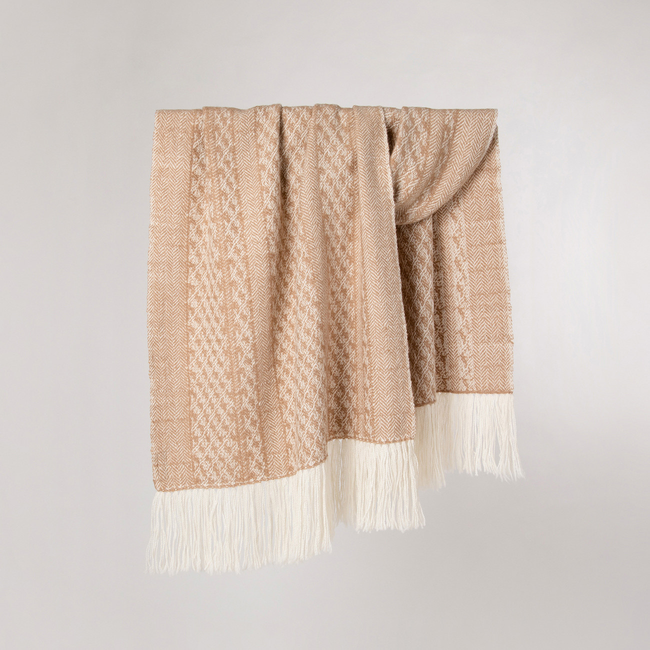 Handwoven Staffa Shawl - Natural Caramel and Cream Alpaca - 0