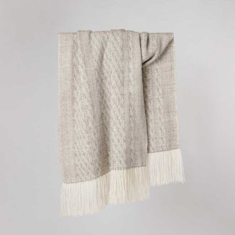 Handwoven Staffa Shawl - Natural Light Grey and Cream Alpaca - 0