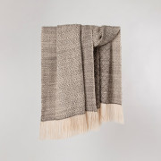 Handwoven Pinecone Stole - Natural Rose Grey and Cream Alpaca - 0