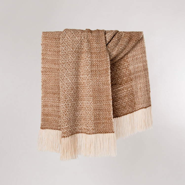 Handwoven Pinecone Stole - Natural Caramel and Cream Alpaca - 0