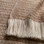 Handwoven Sycamore Blanket Wrap - Natural Fawn and White Alpaca - 1