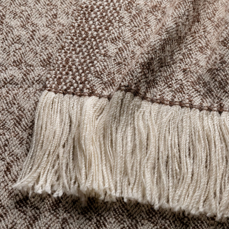 Handwoven Fallen Leaves Blanket Wrap - Natural Chocolate and White Alpaca - 1