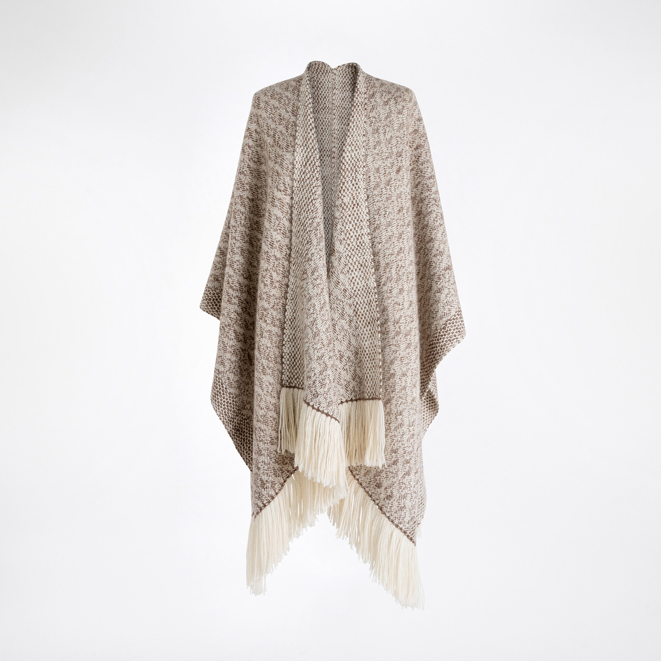 Handwoven Fallen Leaves Blanket Wrap - Natural Chocolate and White Alpaca - 0