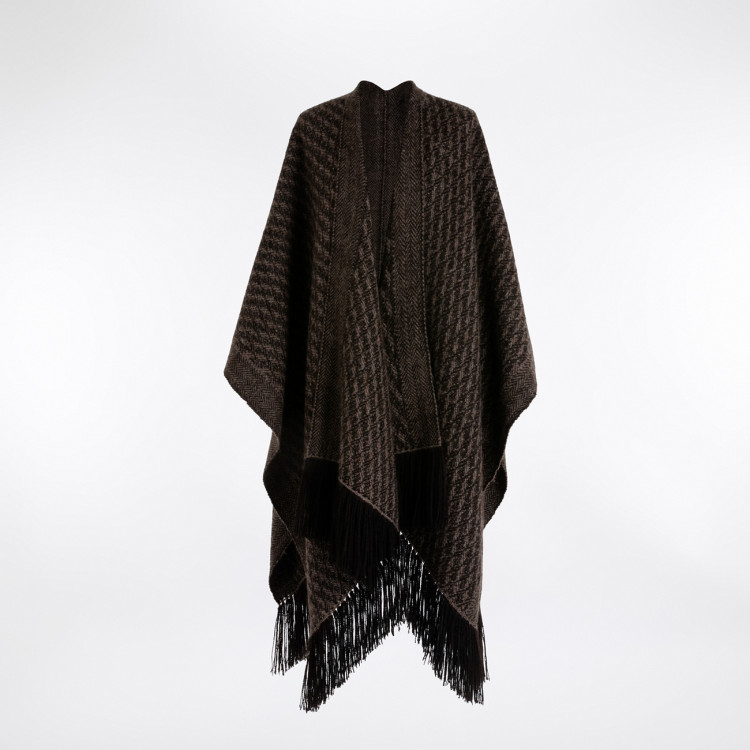 Handwoven Staffa Blanket Wrap - Natural Silver Brown and Black Alpaca - 0