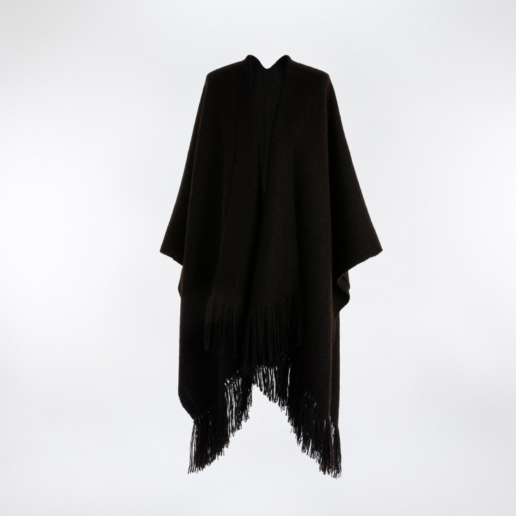 Handwoven Staffa Blanket Wrap - Natural Black Alpaca - 0