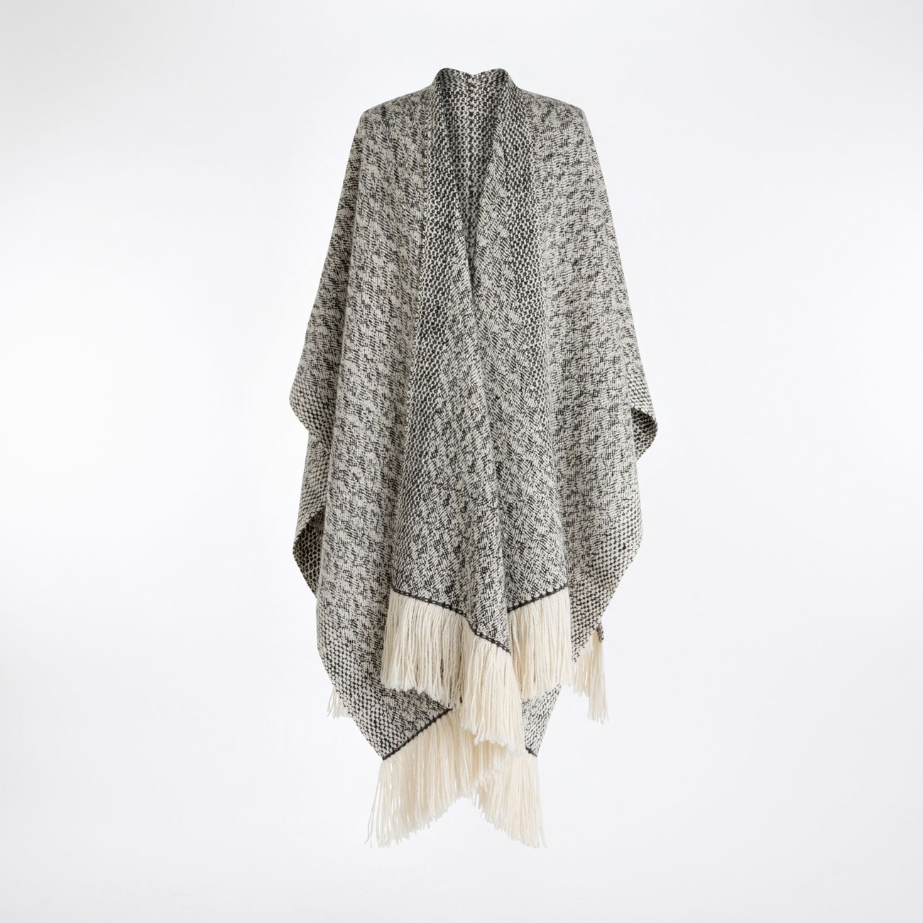 Handwoven Fallen Leaves Blanket Wrap - Natural Charcoal and White Alpaca - 0