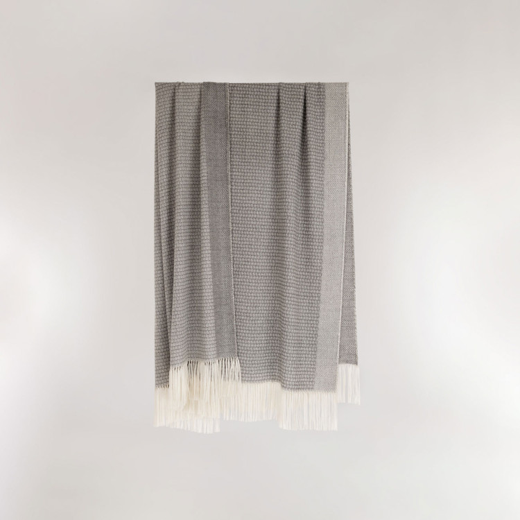 Willow Throw - Natural Grey and White Alpaca - 0