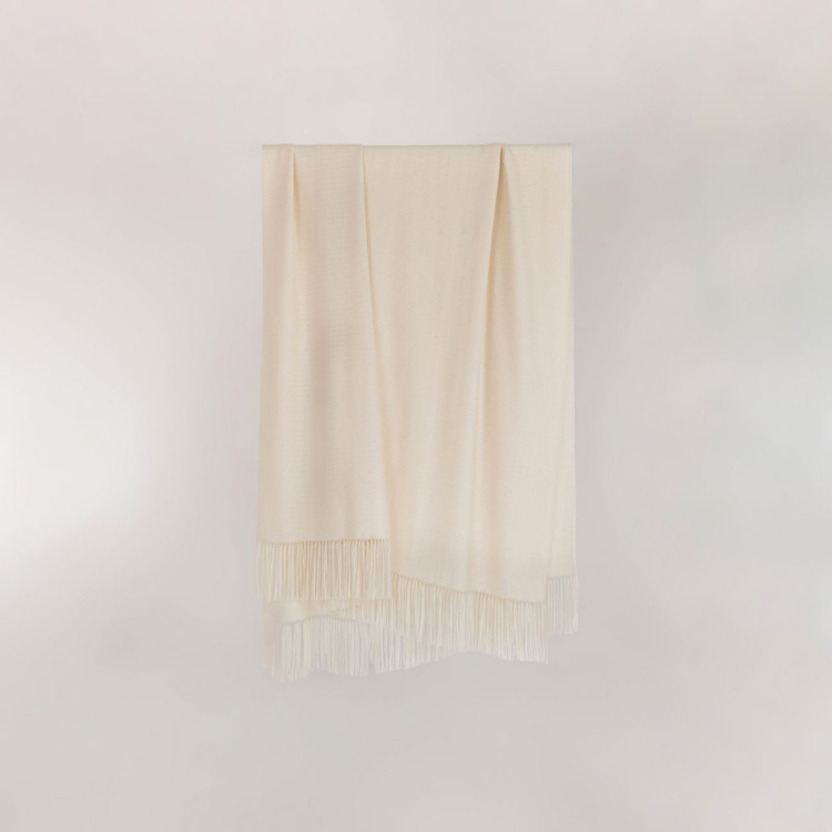 Willow Throw - Natural White Alpaca - 0